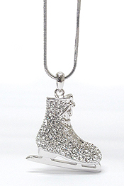 WHITEGOLD PLATING CRYSTAL SPORTS THEME ICE SKATING SHOE PENDANT NECKLACE