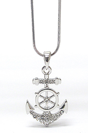 WHITEGOLD PLATING CRYSTAL ANCHOR AND STEERING WHEEL PENDANT NECKLACE