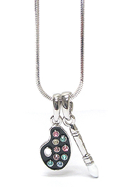 WHITEGOLD PLATING CRYSTAL  ART THEME PAINT BRUSH AND PALLET PENDANT NECKLACE