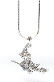 WHITEGOLD PLATING CRYSTAL WITCH PENDANT NECKLACE