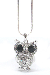 WHITEGOLD PLATING CRYSTAL BIG EYE OWL PENDANT NECKLACE