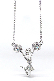 WHITEGOLD PLATING CRYSTAL CHEERLEADER PENDANT NECKLACE