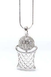 WHITEGOLD PLATING CRYSTAL BASKETBALL THEME PENDANT NECKLACE