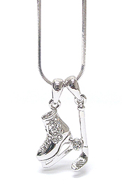 WHITEGOLD PLATING CRYSTAL STUD ICE HOCKEY THEME DUAL PENDANT NECKALCE