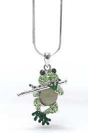 WHITEGOLD PLATING CRYSTAL FLUTE FROG PENDANT NECKLACE