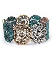 METAL FILIGREE DISK STRETCH BRACELET