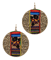 SERAPE PATTERN AND ANIMAL PRINT EARRING - DISC