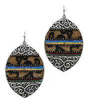 SERAPE PATTERN AND ANIMAL PRINT EARRING - MARQUISE
