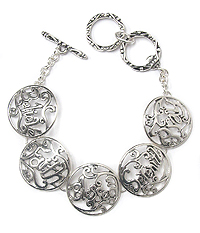 METAL FILIGREE DISK LINK TOGGLE BRACELET - BELIEVE FAITH BLESSED SERENITY PRAY