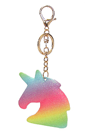 GLITTERING RAINBOW PUFFY UNICORN KEY CHAIN
