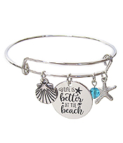 INSPIRATION MESSAGE STAMP DISC CHARM WIRE BANGLE BRACELET - LIFE IS BETTER AT THE BEACH