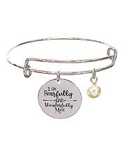 INSPIRATION MESSAGE STAMP DISC CHARM WIRE BANGLE BRACELET - I AM FEARFULLY AND WONDERFULLY MADE