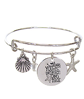 INSPIRATION MESSAGE STAMP DISC CHARM WIRE BANGLE BRACELET - LOVE YOU TO THE BEACH AND BACK