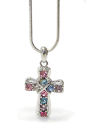 WHITEGOLD PLATING CRYSTAL STUD CROSS PENDANT NECKLACE