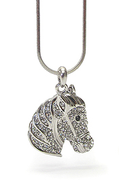 WHITEGOLD PLATING CRYSTAL HORSE HEAD NECKLACE