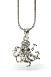 WHITEGOLD PLATING CRYSTAL STUD OCTOPUS PENDANT NECKLACE