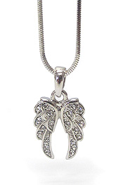 WHITEGOLD PLATING CRYSTAL ANGEL WING NECKLACE
