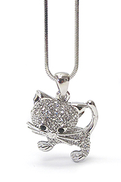 WHITEGOLD PLATING CRYSTAL STUD CAT PENDANT NECKLACE