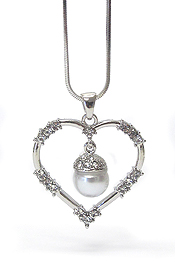 WHITEGOLD PLATING CRYSTAL STUD PEARL DANGLE HEART PENDANT NECKLACE