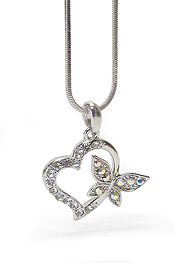 WHITEGOLD PLATING CRYSTAL BUTTERFLY HEART PENDANT NECKLACE