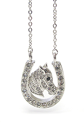 WHITEGOLD PLATING CRYSTAL WESTERN THEME HORSESHOE PENDANT NECKLACE