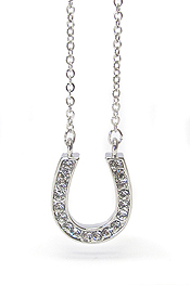 WHITEGOLD PLATING CRYSTAL HORSE SHOE NECKLACE
