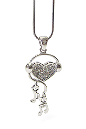 WHITEGOLD PLATING CRYSTAL HEART AND MUSIC NOTE DROP PENDANT NECKLACE