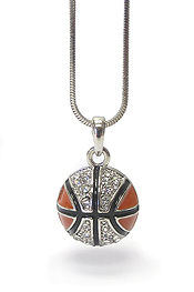 WHITEGOLD PLATING EPOXY AND CRYSTAL DECO BASKETBALL PENDANT NECKLACE