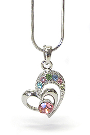 WHITEGOLD PLATING CRYSTAL HEART PENDANT NECKLACE