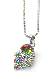 WHITEGOLD PLATING MULTI COLOR CRYSTAL CONCHO SHELL PENDANT NECKLACE