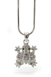 WHITEGOLD PLATING CRYSTAL FROG PENDANT NECKLACE