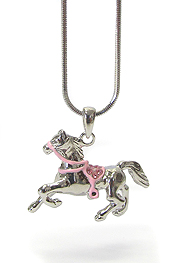WHITEGOLD PLATING CRYSTAL  HORSE PENDANT NECKLACE