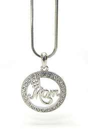 WHITEGOLD PLATING CRYSTAL #1 MOM PENDANT NECKLACE