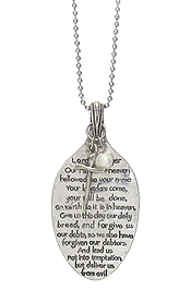 RELIGIOUS INSPIRATION MESSAGE ON SPOON HEAD LONG NECKLACE - LORDS PRAYER