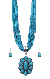 TURQUOISE PENDANT AND MULTI SEED BEAD CHAIN CHUNKY NECKLACE SET