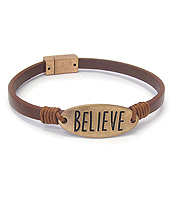 RELIGIOUS INSPIRATION LEATHER MAGNETIC BRACELET - BELIEVE