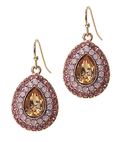 FACET GLASS AND CRYSTAL MIX TEARDROP EARRING
