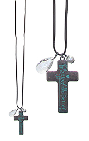 RELIGIOUS INSPIRATION MESSAGE CROSS LONG NECKLACE - BLESSED BEYOND BELIEF