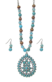 TURQUOISE TEARDROP PENDANT AND MIXED BEAD CHAIN NECKLACE SET