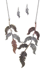 METAL LEAF LINK NECKLACE SET
