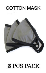 UNISEX GRAY COLOR WASHABLE REUSABLE BREATHABLE COTTON FACE MASK - COTTON 96% SPANDEX 4% (3 PC SET)