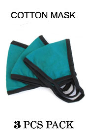 UNISEX TEAL COLOR WASHABLE REUSABLE BREATHABLE COTTON FACE MASK - COTTON 96% SPANDEX 4% (3 PC SET)