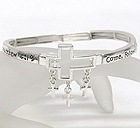 CROSS MESSAGE STRETCH BRACELET - COME FOLLOW ME JESUS SAID AND I WILL MAKE YOU FISHERS OF MEN - MATTHEW 4:19