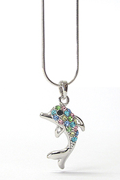 WHITEGOLD PLATING CRYSTAL STUD DOLPHIN PENDANT NECKLACE
