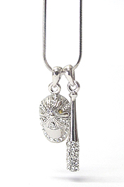 WHITEGOLD PLATING CRYSTAL STUD BASEBALL BET AND CAP DUAL PENDANT NECKLACE