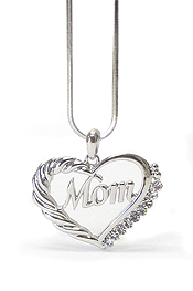 WHITEGOLD PLATING CRYSTAL MOM HEART PENDANT NECKLACE