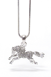 WHITEGOLD PLATING CRYSTAL STUD HORSE PENDANT NECKLACE