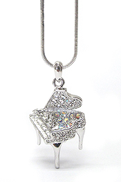 WHITEGOLD PLATING CRYSTAL MUSIC THEME PIANO PENDANT NECKLACE