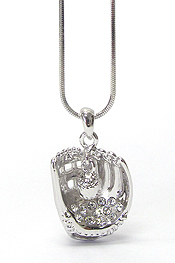 WHITEGOLD PLATING CRYSTAL SPORTS THME BASEBALL GLOVE PENDANT NECKLACE