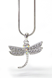 WHITEGOLD PLATING CRYSTAL DRAGONFLY NECKLACE